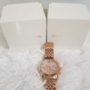 Mk Rose Gold Lexington Watch